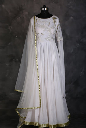 Offwhite designer indian dress with dupatta - Desi Royale