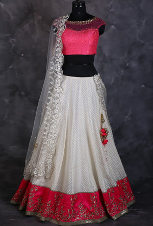 White designer indian lehengha with dupatta - Desi Royale