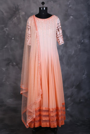 Peach designer indian dress with dupatta - Desi Royale