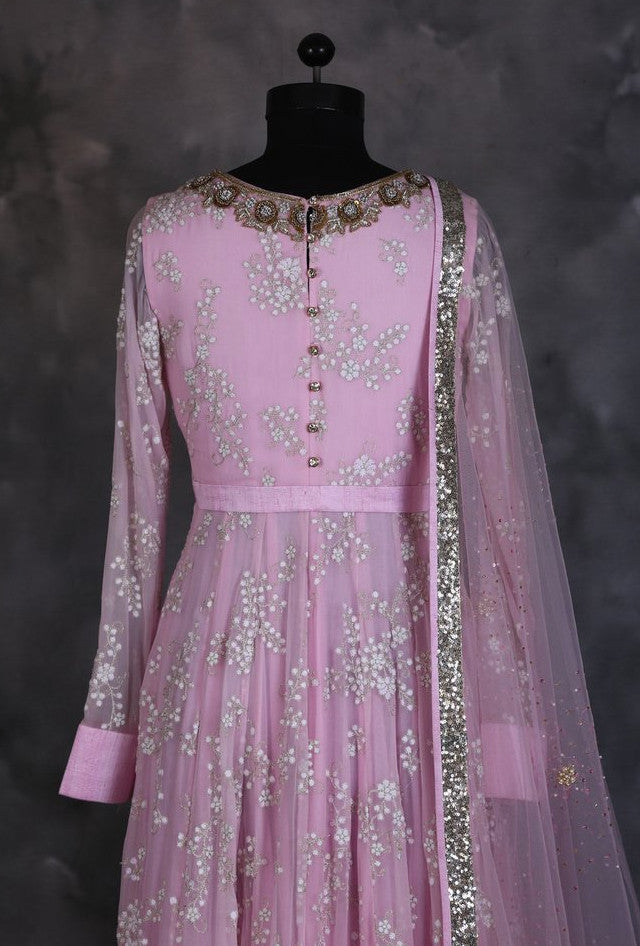 Pink designer indian dress with dupatta - Desi Royale