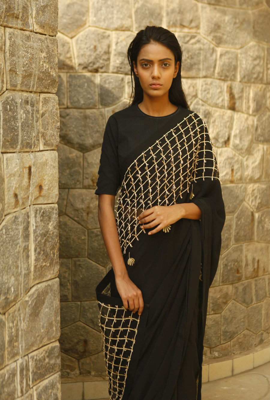 Organza Panel Saree  By Kanelle - Desi Royale