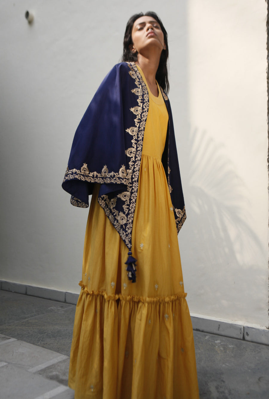 Yellow Long Dress With Embroidered Drape Cape  By Kanelle - Desi Royale