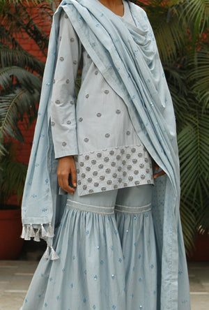 Bead Work Shirt With Sharara And Dupatta  By Kanelle - Desi Royale