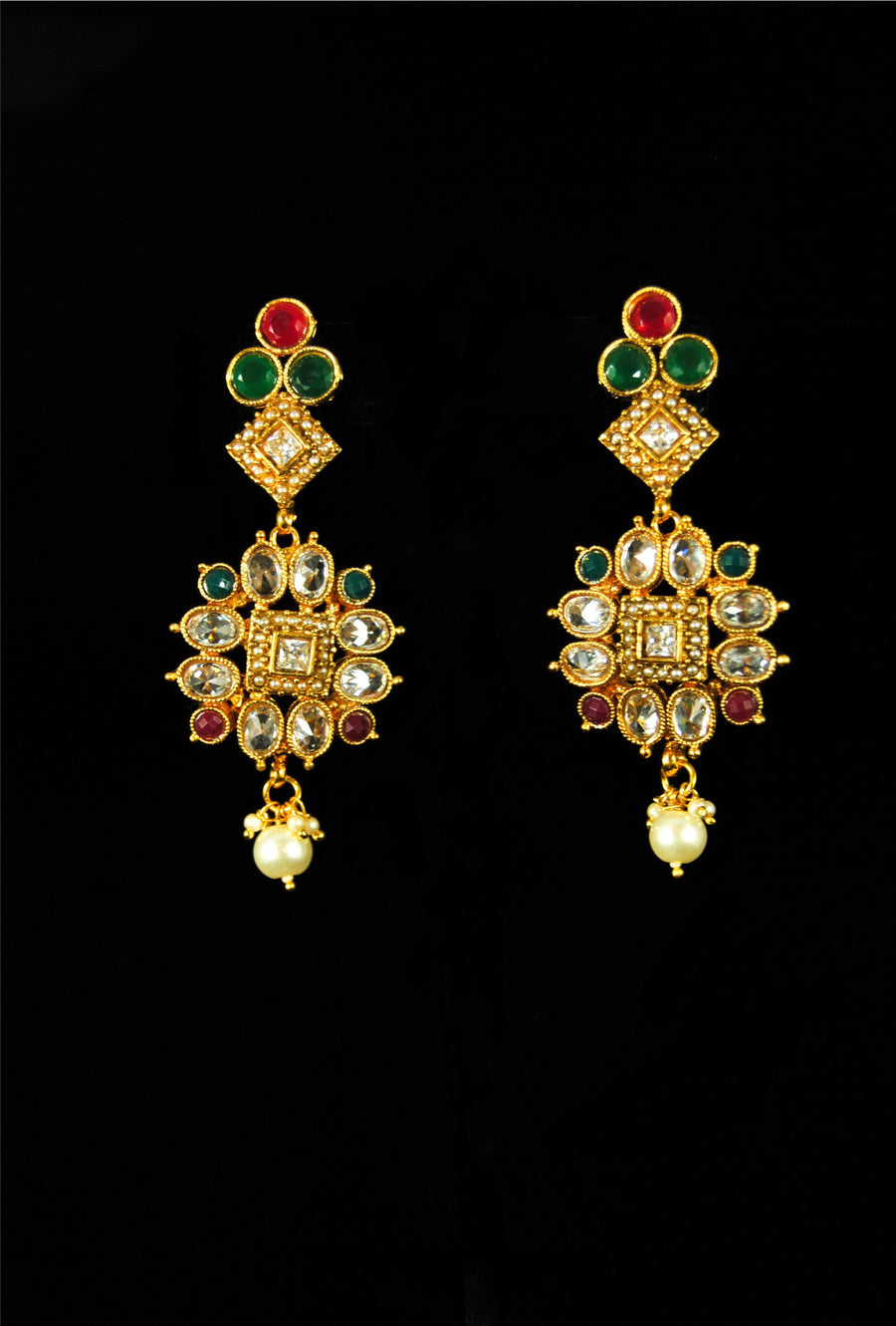 Antique heavy designer bridal necklace set - Desi Royale