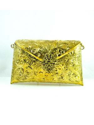 Gold Metal Clutch bag - Desi Royale