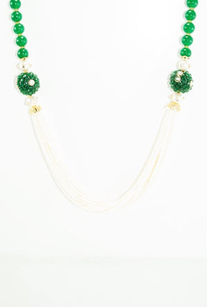 Mehnaaz Necklace Set With Sterling Emerald Beads - Desi Royale