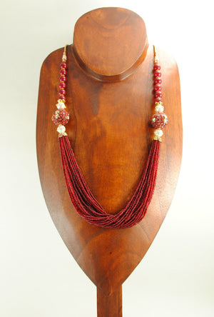 Bandhura Necklace Set With Sterling Ruby Beads - Desi Royale