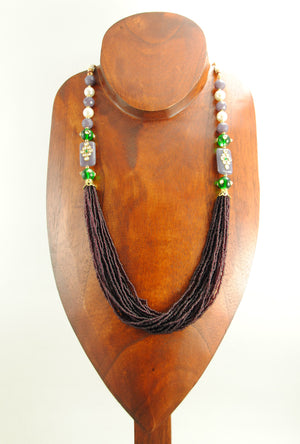 Imperial Necklace With Emerald,Purple And Pearl Beads - Desi Royale