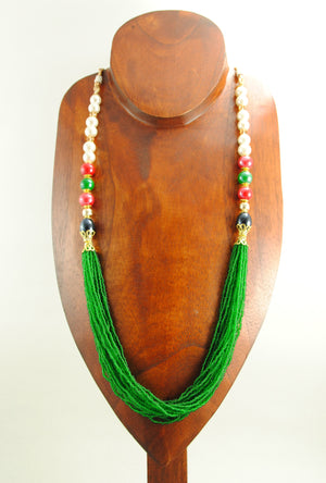 Piyali Necklace With Pearls,Red,Emerald And Black Beads - Desi Royale
