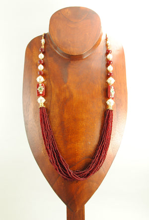 Ratnavali Necklace With Pearl And Ruby Beads - Desi Royale