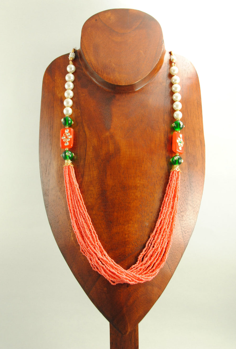 Rubaina Necklace With Emerald And Perals - Desi Royale