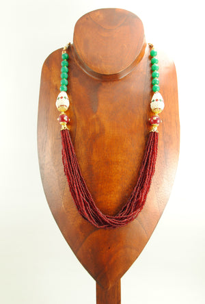 Ratnangi Necklace With Ruby And Emerald Beads - Desi Royale