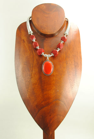 Red Alpana Necklace Set - Desi Royale