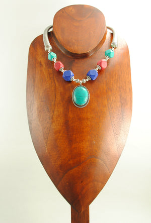 Turquoise Alpana Necklace Set - Desi Royale