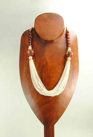 Benazir Necklace Set With Sterling Ruby Beads - Desi Royale