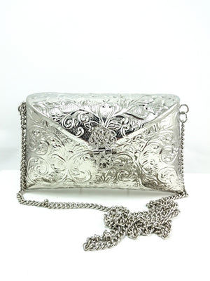 Silver metal Clutch - Desi Royale