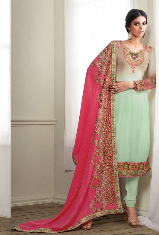 Green and pink designer indian suit with embroidered dupatta - Desi Royale