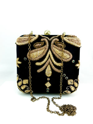 Black Wedding Clutch - Desi Royale