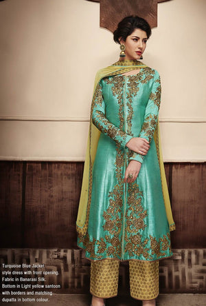 Turquoise And Yellow Designer Party Wear Suit - Desi Royale