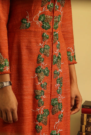 Ankle length jacket in handloom silk - Desi Royale