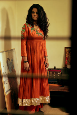 Angarakha in handloom silk and chiffon - Desi Royale