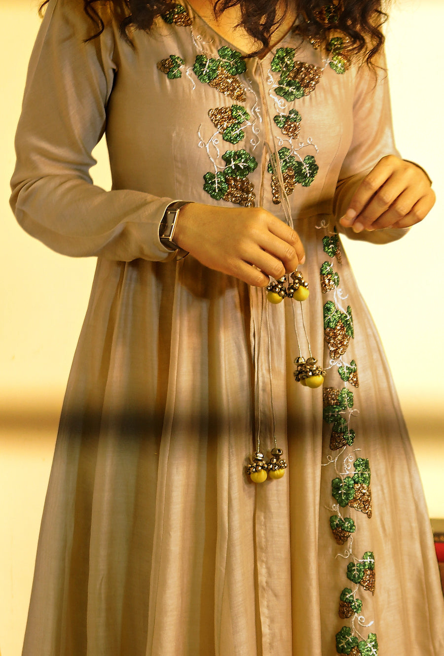 Ankle length grey gherdar in handloom chanderi - Desi Royale
