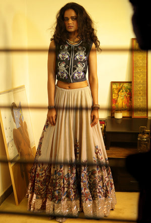 Lehenga in handloom chanderi - Desi Royale