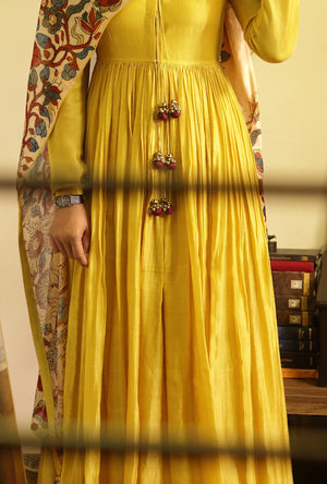 Ankle length yellow gherdar in handloom chanderi - Desi Royale