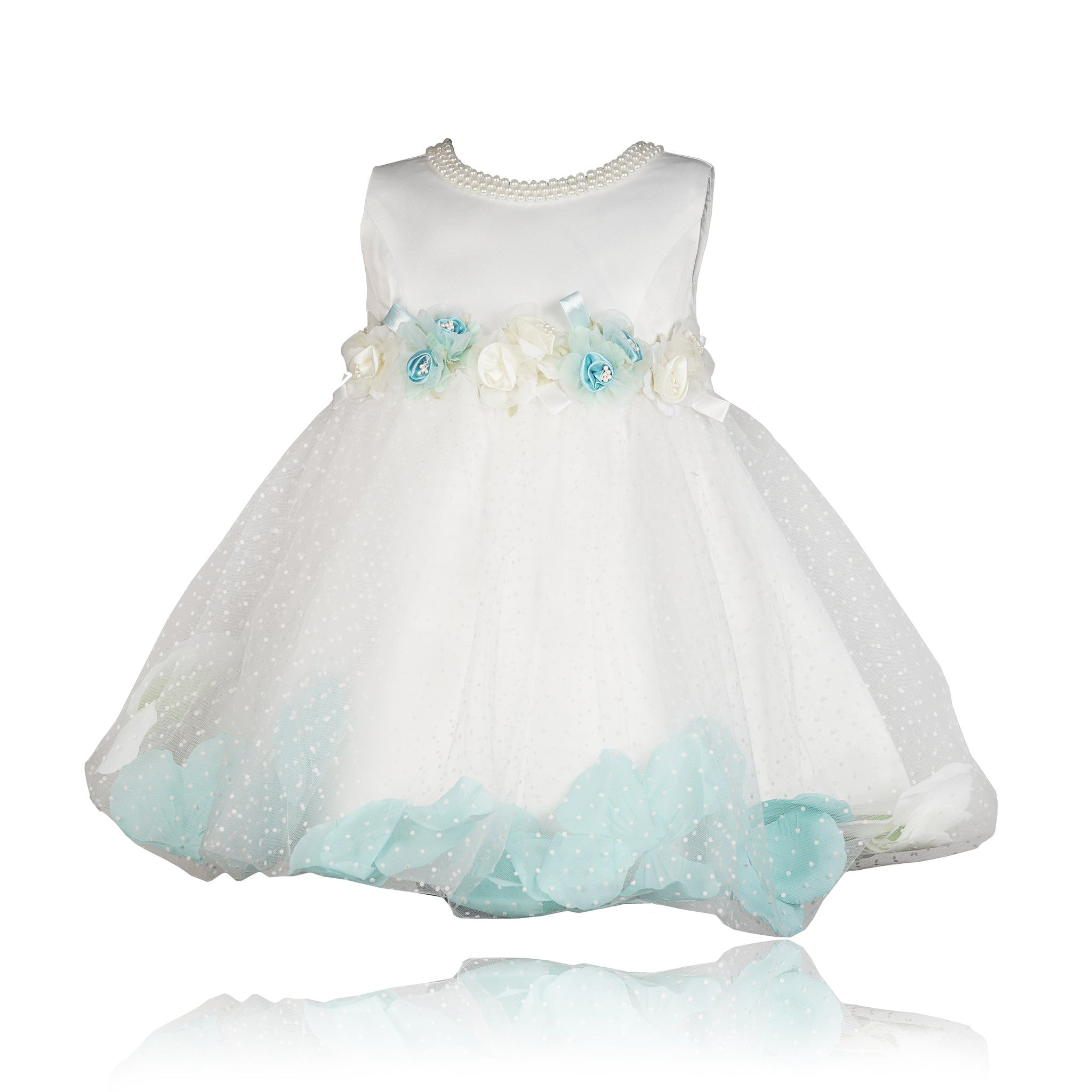 2234ff072612 Buy Coctail White N Turquoise Flowers Dress Online - Coctail