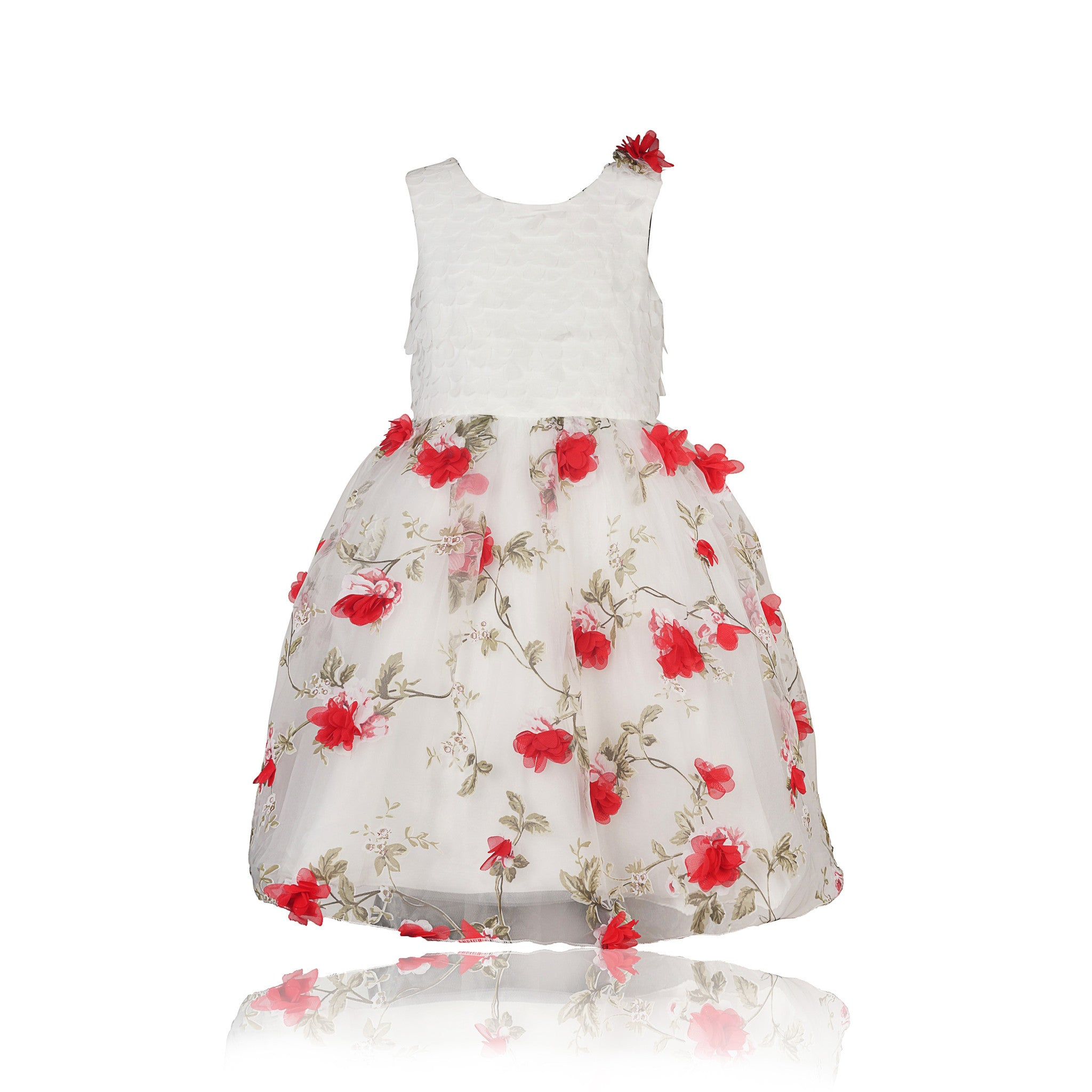 eedae9ef74427 Buy Coctail White Top And Down Red Flowers Angels Dress Online - Coctail