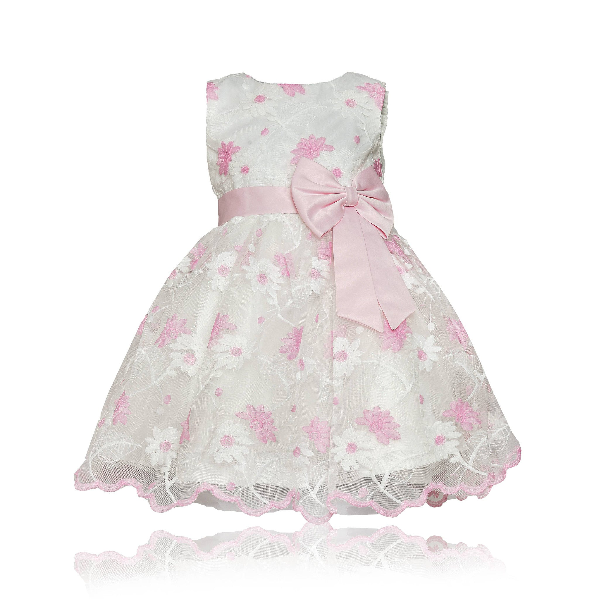 9363d113ff691 Coctail Baby Pink-On-White Flower Princess Sleeveless Frock Dress