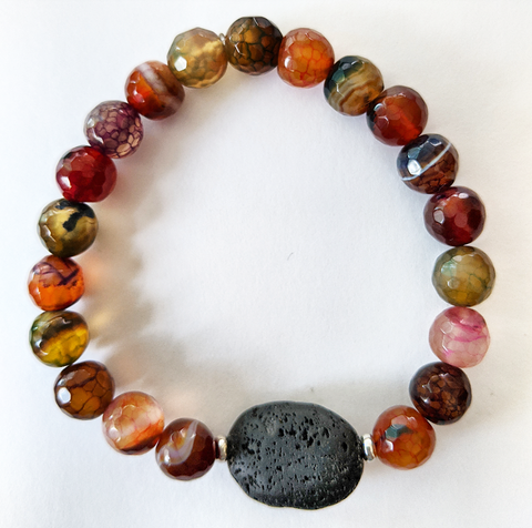 Aromatherapy Bracelet - Mixed Color Agate (Faceted)