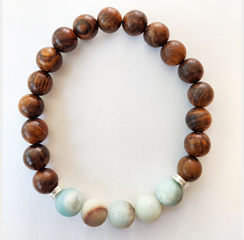 Wood Bracelet With Matte Amazonite