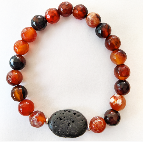 Aromatherapy Bracelet - Orange Agate (Faceted)