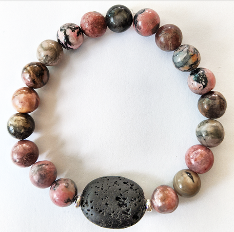 Aromatherapy Bracelet - Black Veined Rhodonite