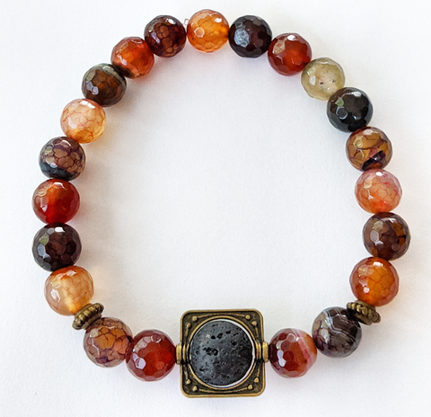 Aromatherapy Bracelet - Faceted Agate Fall Colors