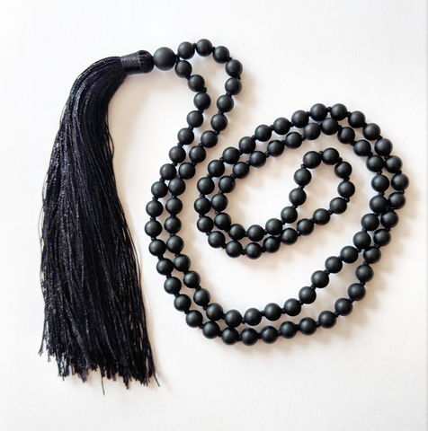 Mala Style Black Onyx Necklace