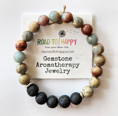 "Aromatherapy Bracelet - Light Blue Impression Jasper (7"" Only)"