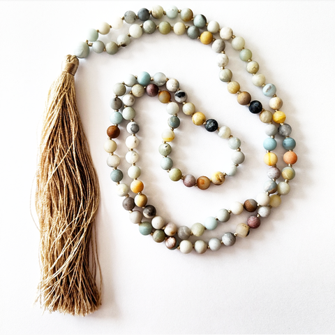 Mala Style Matte Amazonite Necklace