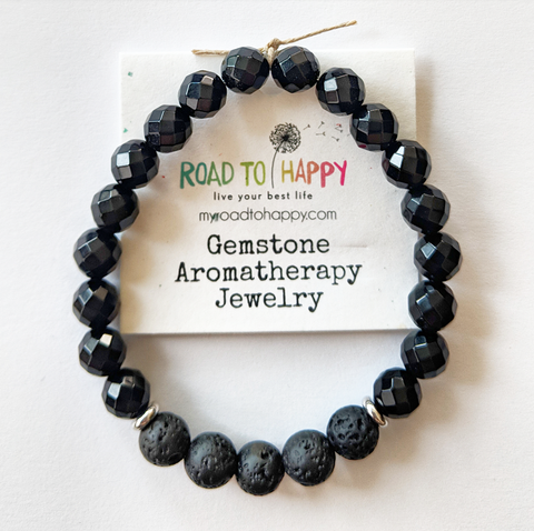Aromatherapy Bracelet - Faceted Black Onyx