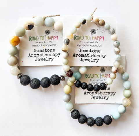 Aromatherapy Bracelet - Faceted Amazonite