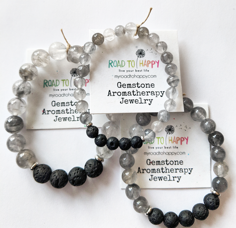 Aromatherapy Bracelet - Grey Cloud Quartz