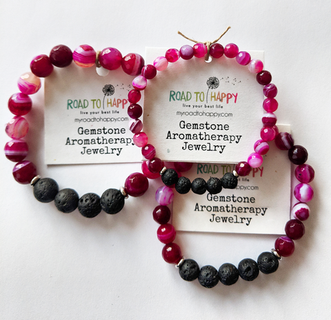 Aromatherapy Bracelet - Pink Banded Agate (Faceted)