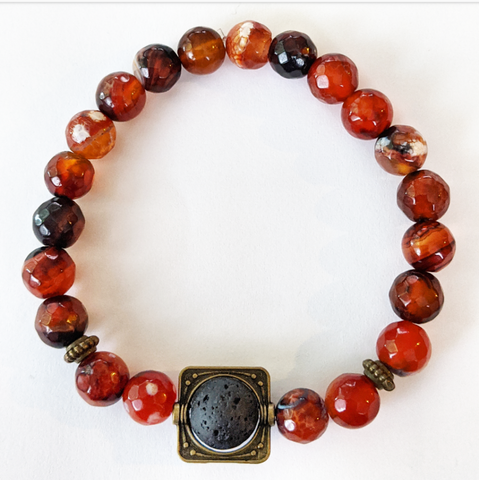 Aromatherapy Bracelet - Mixed Orange Agate (Faceted)