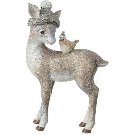 Wintered Deer and Robin Figure