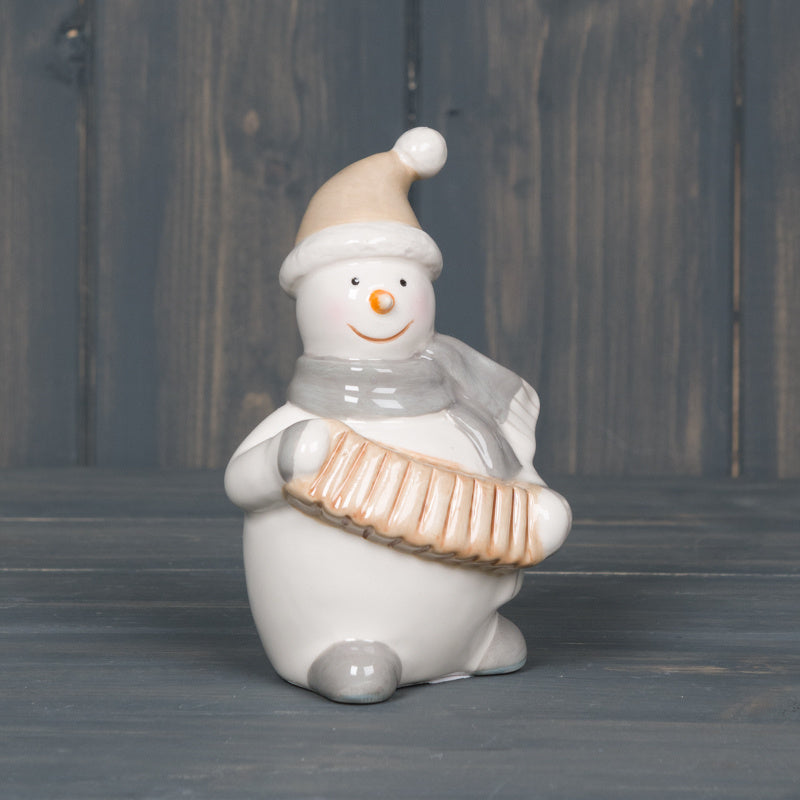 Ceramic Snowman Playing Accordion