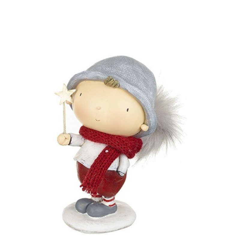 Boy in Winter Hat Standing Figurine