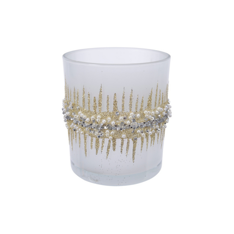 Frosted Glass Glitter Tealight Holder