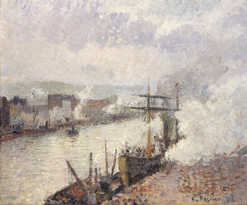 Camille Pissarro 'Steamboats in the Port of Rouen'