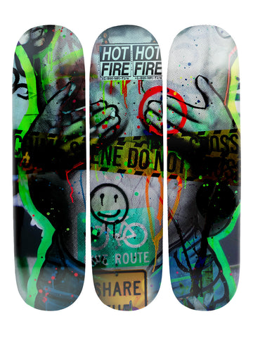 Hunter Sampson 'Skateboard x 3 Combo Wall Art'